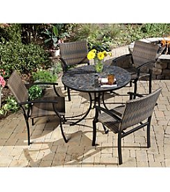 Home Styles® Stone Harbor Black & Slate Table with Newport Arm Chairs