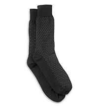 Harbor Bay® Men's Big & Tall All-Over Diamond Socks - Black