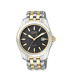Citizen® Men's Eco-Drive Stainless Steel Two-Tone Watch with Black Dial