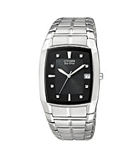 Citizen® Men's Eco-Drive Stainless Steel Watch with Black Dial