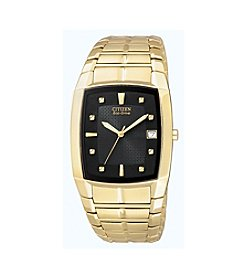 Citizen® Men's Eco-Drive Stainless Goldtone Watch with Black Dial