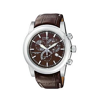Citizen® Men's Eco-Drive Brown Strap Chronograph Watch