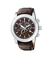 Citizen® Men's Eco-Drive Brown Strap Chronograph Watch