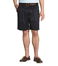 Oak Hill® Men's Big & Tall Waist-Relaxer® Cool & Dry Pleated Carrier Shorts