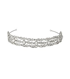 Nina Bridal Bridgett Vintage Swarovski® & Glass Crystal Headband - Antique Silver