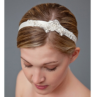 Nina Bridal Camille Lace & Glass Pearl Ribbon Headwrap - Ivory Satin