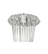 Nina Bridal Caroline Swarovski® & Glass Crystal Hair Comb - Antique Silver