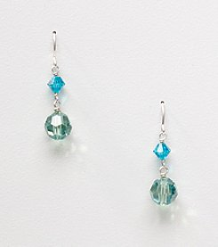 Sterling Silver Faceted Crystal Bead Drop Earrings