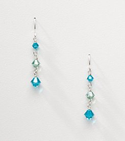 Sterling Silver Bicone Graduated Drop Earrings