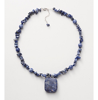 Sterling Silver Sodalite Pendant Necklace