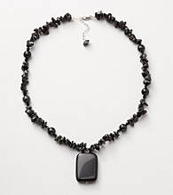 Sterling Silver Obsidian Pendant Necklace