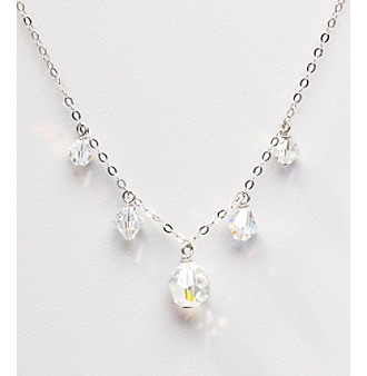 Sterling Silver Crystal Drops Necklace