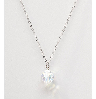 Sterling Silver Crystal Bead Drop Necklace