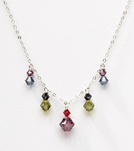 Sterling Silver Multicolored Bi-Cone Crystal Drops Necklace