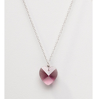Sterling Silver Amethyst Crystal Heart Pendant Necklace