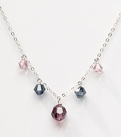 Sterling Silver Multi-Colored Crystal Drops Necklace