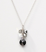 Sterling Silver Jet Crystal Cluster Necklace