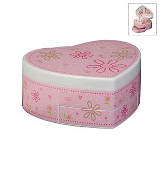 "Mele & Co. ""Ruby"" Girl's Glitter Daisy Heart-Shaped Musical Ballerina Jewelry Box"