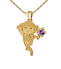 Dora the Explorer Gold-Over-Sterling Silver February Birthstone Pendant