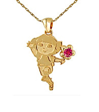 Dora the Explorer Gold-Over-Sterling Silver July Birthstone Pendant