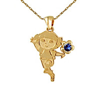 Dora the Explorer Gold-Over-Sterling Silver September Birthstone Pendant