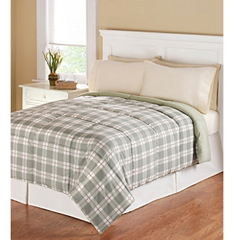 LivingQuarters Reversible Sage Plaid Microfiber Down-Alternative Comforter
