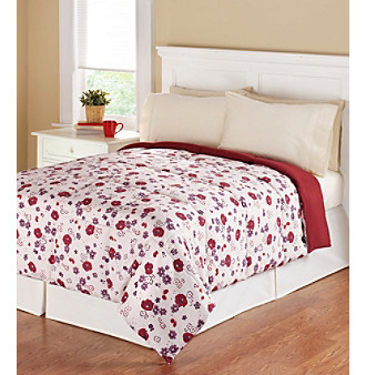 LivingQuarters Reversible Ruby Floral Microfiber Down-Alternative Comforter