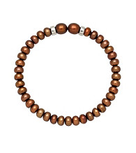 .925 Sterling Silver Pearl Bracelet - Chocolate