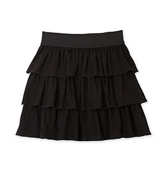 Amy Byer Girls' Three-Tier Challis Skirt - Black