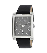 Kenneth Cole New York® Grey Dial Black Leather Watch