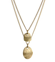 Kenneth Cole® Sculptural Two Row Necklace - Goldtone