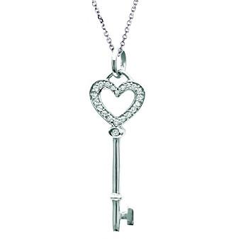 Sterling Silver 0.095 ct. t.w. Diamond Heart Key Pendant