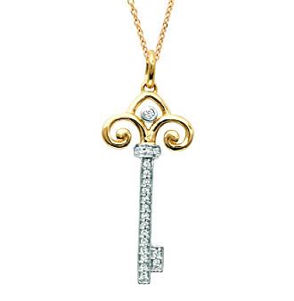 0.1 ct. t.w. Diamond Fleur de Lis Key Pendant Necklace