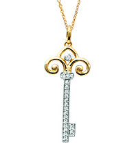 0.1 ct. t.w. Diamond Fleur de Lis Key Pendant Necklace