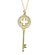 0.17 ct. t.w. Diamond Clover Key Pendant Necklace