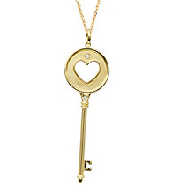 0.06 ct. t.w. Diamond Heart Key Pendant Necklace