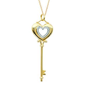 0.11 ct. t.w. Diamond Heart Key Pendant Necklace