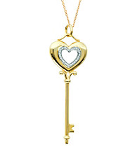 0.11 ct. t.w. Diamond Heart Key Pendant Necklace