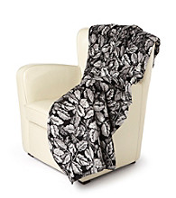 Denali® Oversized Black Leaves Microplush Throw