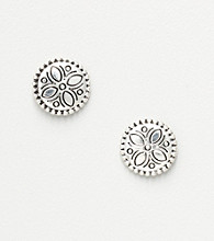 Napier® Round Button Stud Earrings - Silvertone