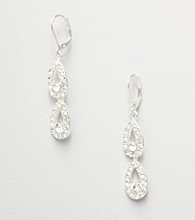 Napier® Crystal Tear Drop Earrings - Silvertone
