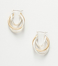 Napier® Triple Twist Hoop Earrings - Silvertone/Goldtone
