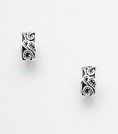Napier® Paisley Etched Clip Earrings - Silvertone