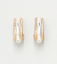 Napier® Small Wedding Band Earrings - Goldtone/Silvertone