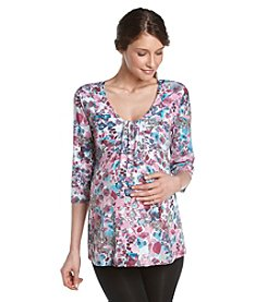 Three Seasons Maternity™ Printed Drape-Front Top - Pink Teal Floral