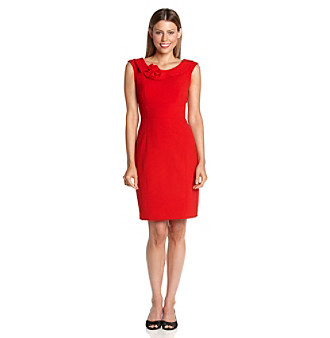 Dress Shoppe on Portrait Fold Over Collar Rosette Luxe Stretch Sheath Dress   Red