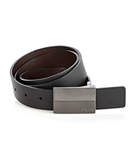 Kenneth Cole REACTION® Men's Reversible Plaque Buckle Belt - Black/Brown