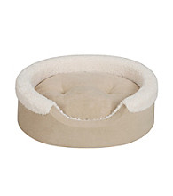 Soft Touch Tan & Ivory Oval Cuddler Dog Bed with Cushion