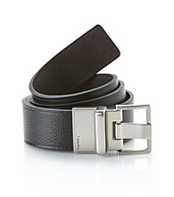 Calvin Klein Men's Reversible Flat Strap Belt with Heat Crease - Black/Brown