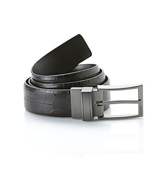 Calvin Klein Men's Black Reversible Feather Edge Strap Belt